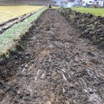 田んぼのあぜのコンクリートの擁壁工事を着工しました