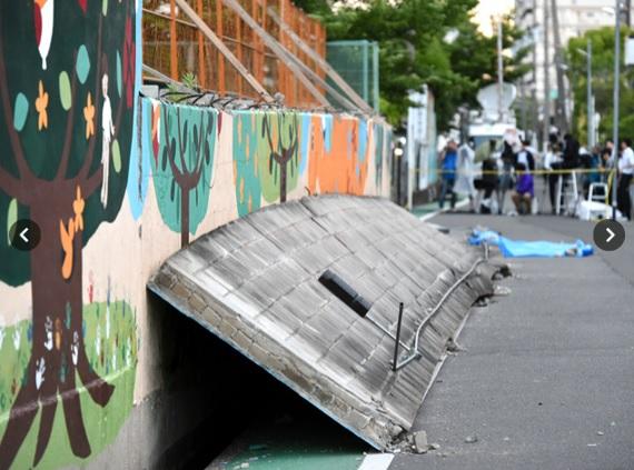 地震によるブロック塀の倒壊